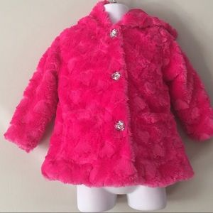 Little Lass Toddler Girl Pink Fur Coat Size 24 Mo